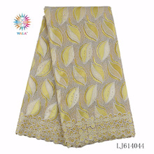 LJ614044- (3) Fancy yellow Latest Design French Tulle Lace Fabric for African Party