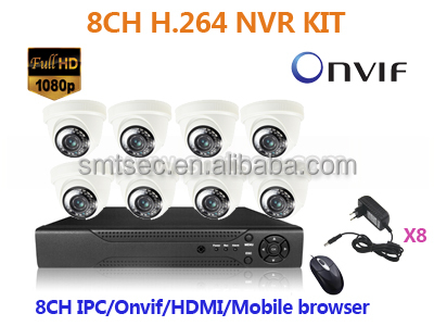 CCTV 8CH NVR Home Security System 720P/960P/1080P HD IP cameras IR Night Vision NVR Camera KIT P2P Onvif IOS Android(NVR-KIT308)