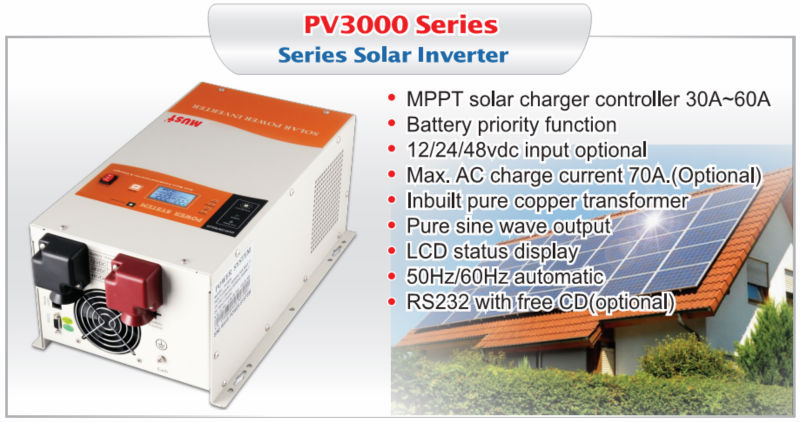< Must Solar> Hot! CE ISO certificated 1000w-6000w built in 40A/60A MPPT controller pure sine wave solar inverter max 75A current