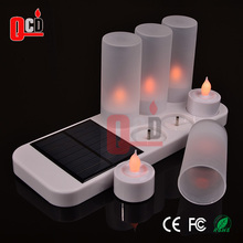 Solar rechargeable electric tea light led candle