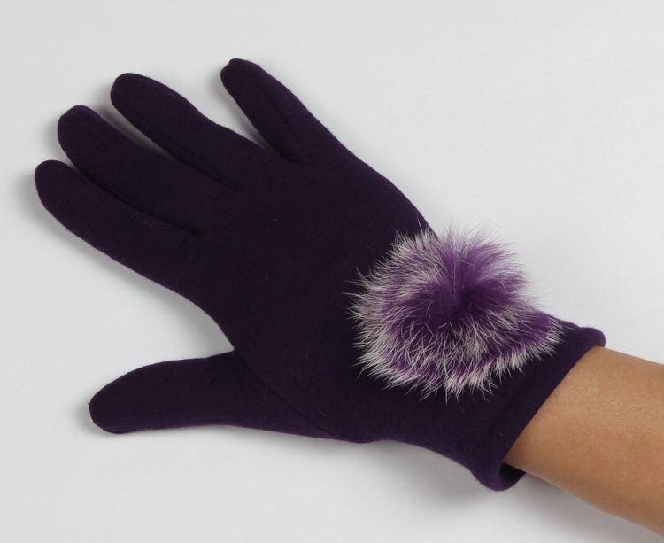 Large fur ball funny winter gloves purple womens dress touchscreen gloves