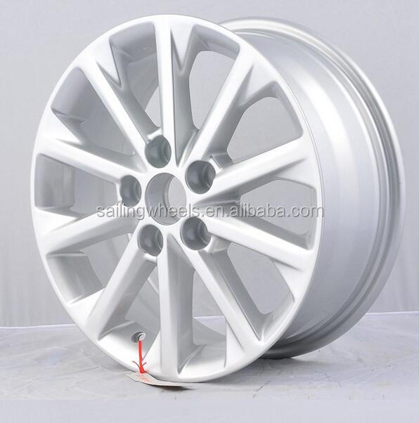16x6.5 inch silver aluminum car wheels for auto with 5x114.3