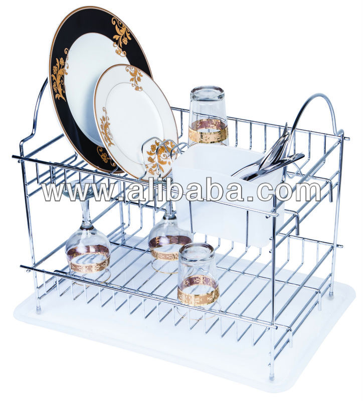 DOUBLE RACK DISH DRAINER WITH CUTLERY HOLDER