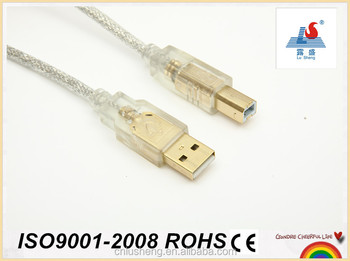 high quality usb cable AM TO BM transparent cable gold plated