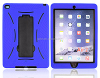 Heavy duty strong durable silicone cover case with stand for iPad Air 2