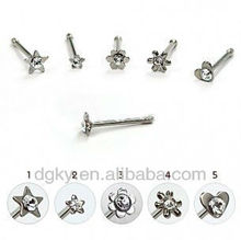 Surgical Steel Nose Pin with Various Gem Figures and Tiny Ball End