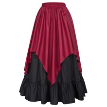 Belle Poque Women's Renaissance Medieval Gothic Victorian Asymmetrical Two-Layers Wine Skirt BP000467-1