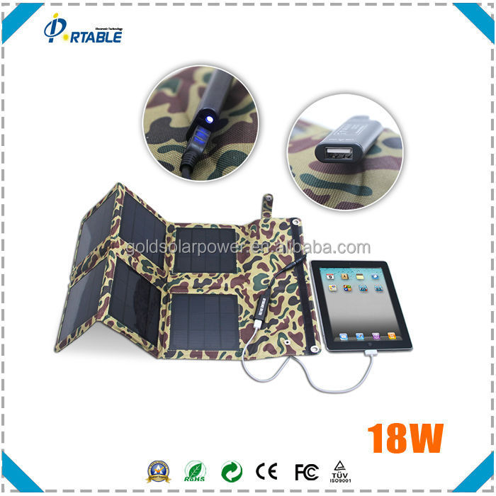 18W Foldable solar charger photovoltaic solar cells for laptop, tablet, smart phone etc suitable for travel/camping