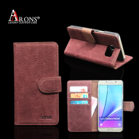 Folio Style Wallet Phone Case magnetic clasp leather case for samsung galaxy note 5