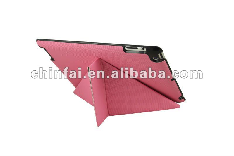 Smart cover with pink color and hard back shell for the new ipad/ipad 2