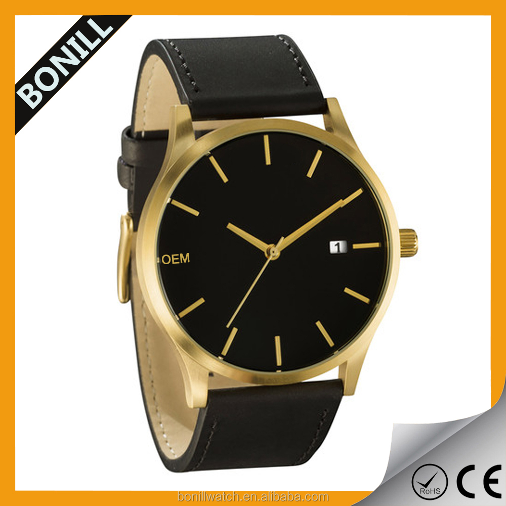 2017 fashion trend brand your logo romanson men leather watch