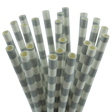 25CT Sivler 7.76'' Decorative Biodegradable Paper Straws Wedding Party Event 30219