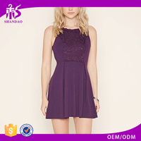 2016 China Supplier Autumn Fashion Style Sleeveless O-neck Ruffle 100%Cotton Ladies Nice Embroidered Dresses