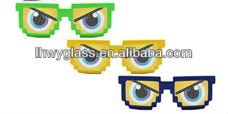 Hot Sale Adult Free Sample Printed lens promotional pin hole pixelated sun glasses