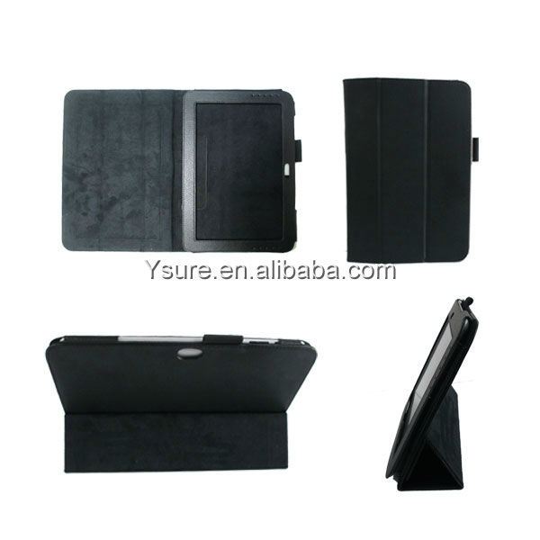 luxury leather case for Samsung tab/tab2 n8000 Three-Fold leather stand