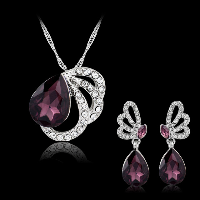 Purple Austrian Crystal Jewelry Sets White Gold Plated Bridal Wedding Accessories African Dubai 2-Piece Jewelry Sets