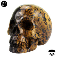 Hot wholesale 2 inch natural semi-precious skull,yellow grass jasper hand carved skull for craft for home decoration #DOI