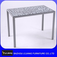 Modern cheap simple glass metal dining table