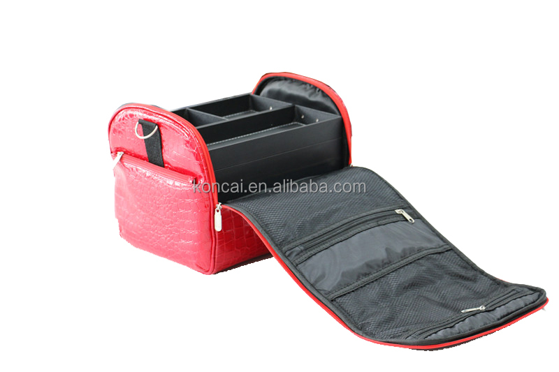 Wholesale lovely small and exquisite red leather textile cosmetic bag