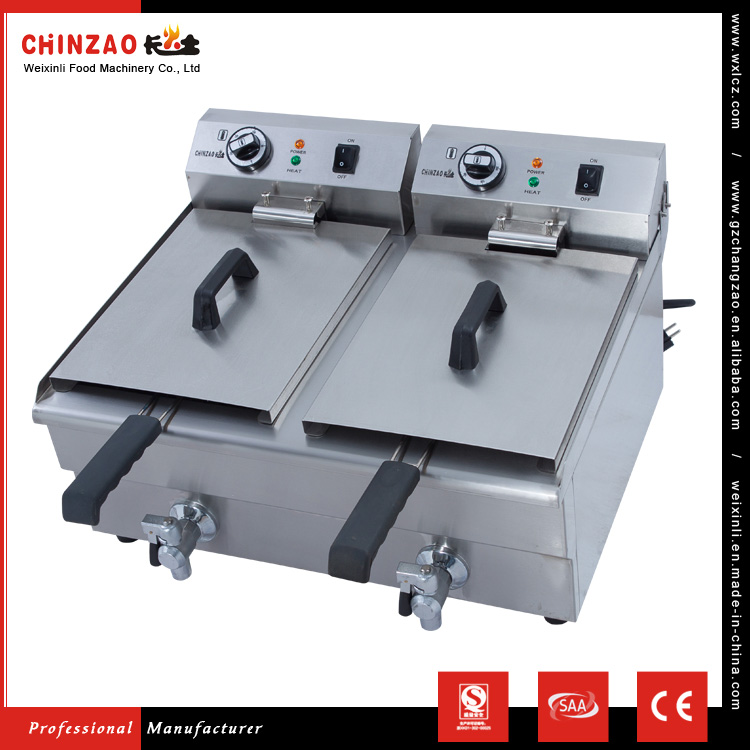 CHINZAO China Market Hot Sales 17L+17L Mini General Fish And Chips Electric Deep Fryer