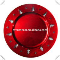 Wholesale Cheap red Plastic Wedding Charger Plates with Christmas Tree