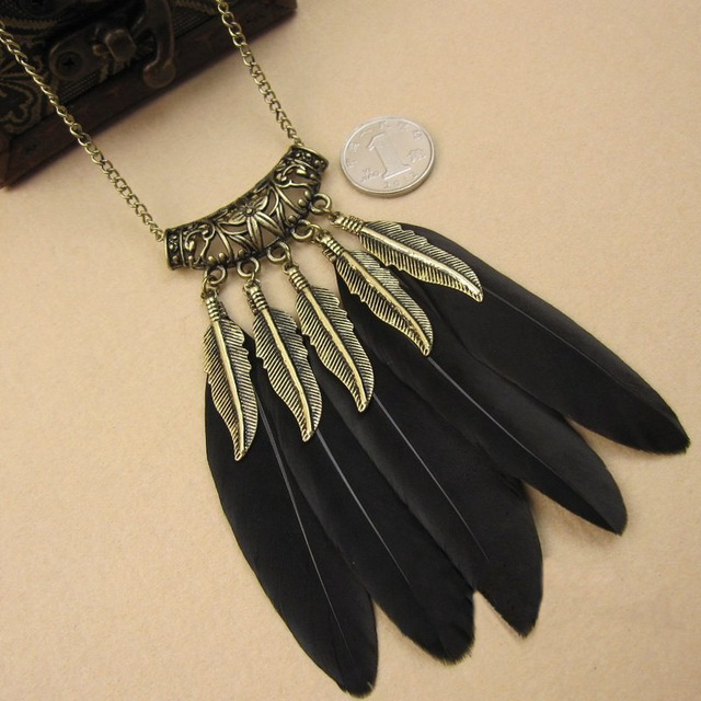 Bohemian BOHO Ethnic Indian Style Feather Pendant Necklace Vintage Retro Chain Necklace Fashion Pendant Women Jewellery
