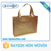 Full Sewing Shoulder Laminated Gold PP Non Woven Shopping Bag