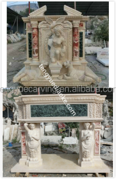 Hand carved angel statue double layer fireplace surround mantel