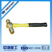 High quality Non-sparking Safety Ball Pein Brass Hammer with Wooden Handle