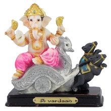 Personalized Hand Crafted Decorartive Poly Resin Lord Ganesha on Chariot