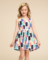 colorful printing baby frock designs fancy 100% cotton kids beautiful model dresses