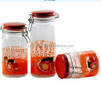 3pcs Glass storage jar with clip and ceramic lid