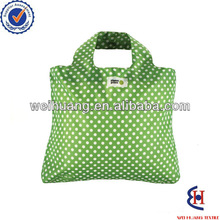 white dots nylon foldable shopping bag with green bottom