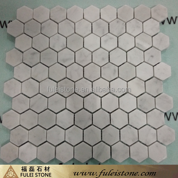 Hexagon Mosaic Tile from Italian Carrara White, White Mosaic Tile