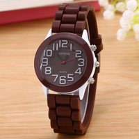 Quartz stainless steel back vogue lady wrist watch silicone band geneva watch