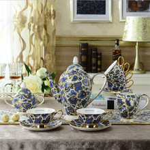 White and Blue Bone China 6 person sets Fine Smoothie Ceramic coffee tea sets with tea pot, suger pot and cream pot
