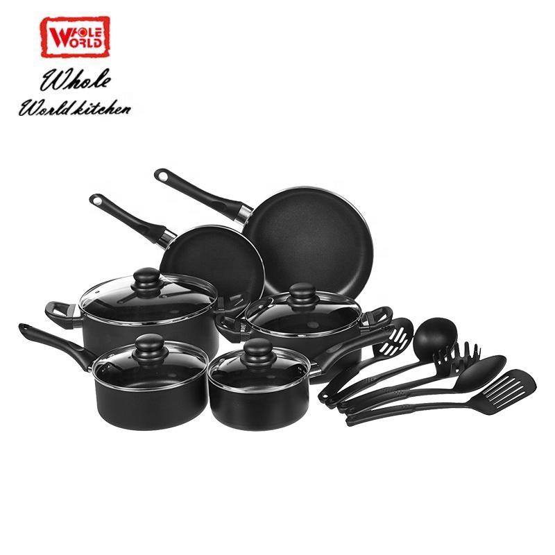 Black Aluminum Pots And Pans Kitchen 24pcs Non Stick Cookware Set With Cooking Utensils Buy Cookware Set Non Stick Cookware Set 24pcs Cookware Set