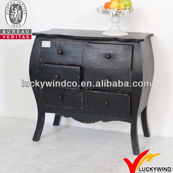 6 Drawers Vintage Black Bedroom Simple Wood Cupboard Design