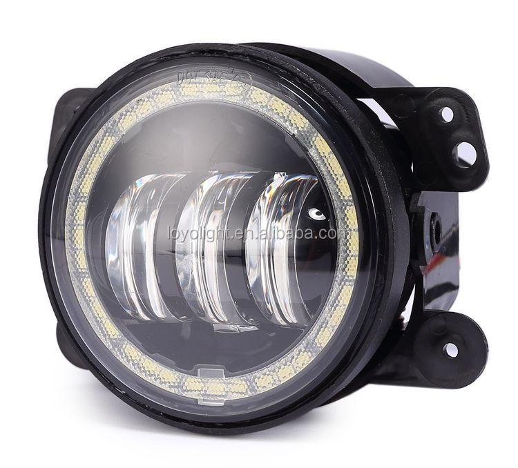 LOYO Jeep Wrangler LED Fog Light 4inch Evil Eyes Halo Ring Fog Lamp