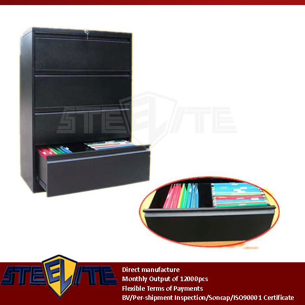 black wide lateral steel hanging file storage cabinet four drawer divider