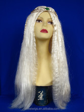 N60303 braided headband wigs hand made braided synthetic white color hair wigs
