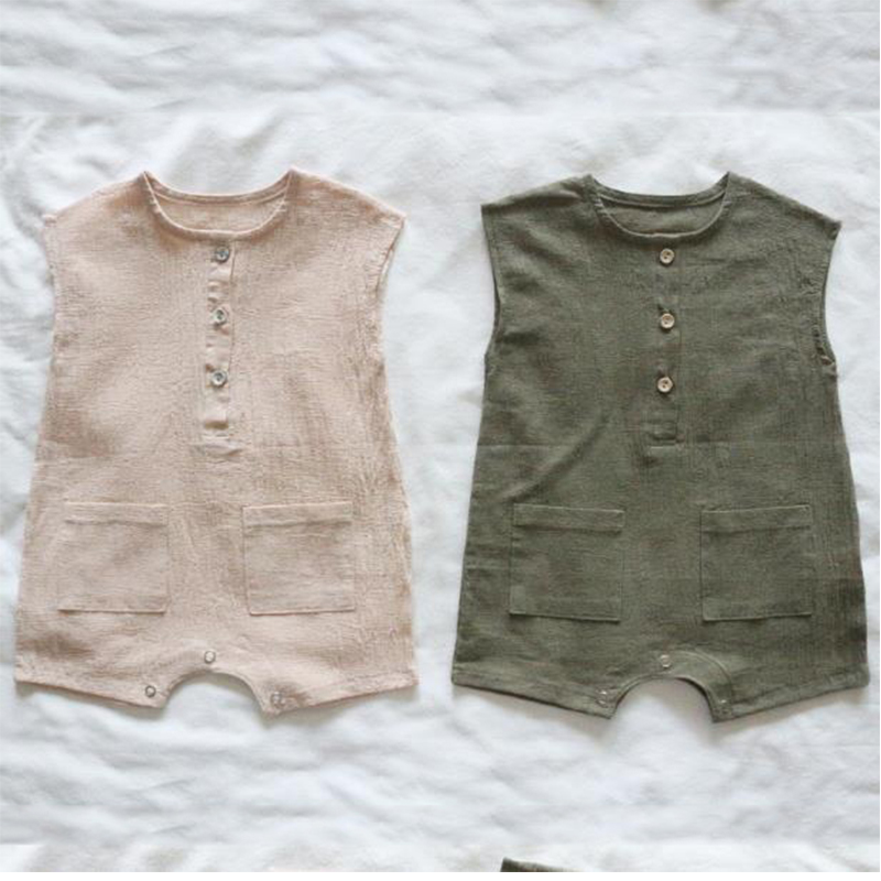 Conicenini Simple Linen Cotton Baby Romper Cheap Price Linen Kids Linen Romper With Two Pockets