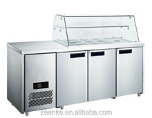 Commercial Stainless steel salad counter fridge/ pizza worktable refrigerator/ sandwich prep table