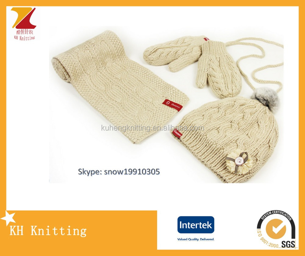 Couples cable knit hat long scarf gloves set with polar fleece lining