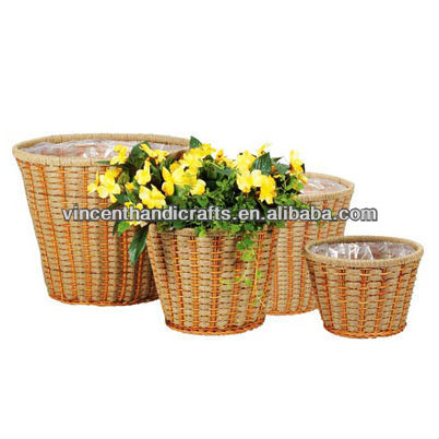 Country primitive rope woven flower pots sets for garden decoratve