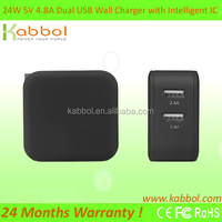 24W 4.8A Universal Dual Port Slim UL USB Wall Charger for Lenovo Tablet and Android Tablet Wall Charger Adapter