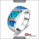 Natural Blue Fire Opal Stone Ring 925 Sterling Silver rings
