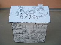 children print paper house toy
