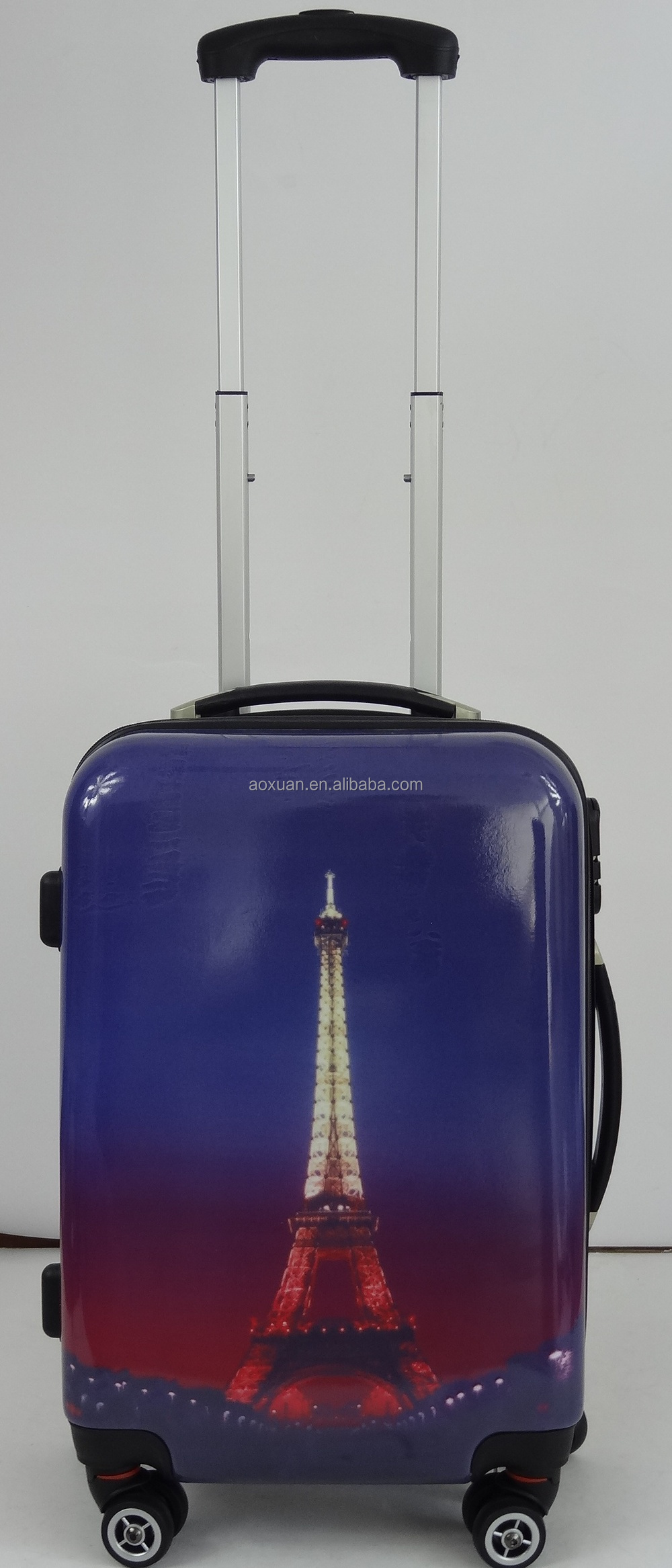 Paris Eiffel Tower ABS printed hard luggage set bag spinner luggage bag