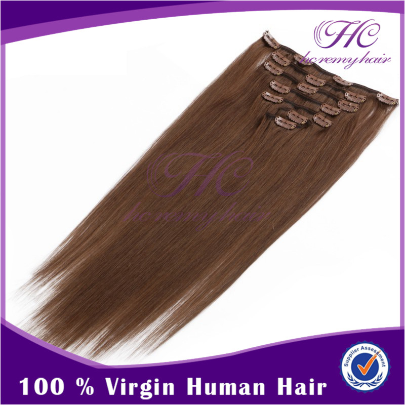 Double weft 100% human clip in hair extensions colored light brown 60cm